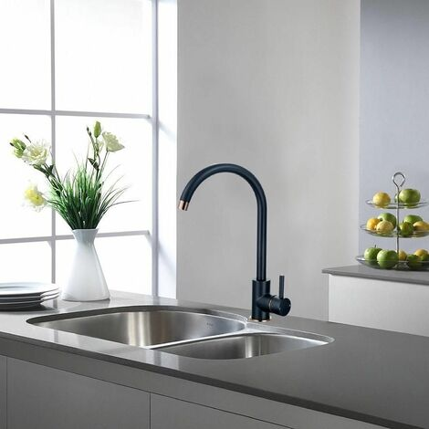 KEENWARE KKT-540 KNIGHTSBRIDGE CONTEMPORARY MONOBLOC KITCHEN MIXER TAP: BLACK & ROSE GOLD