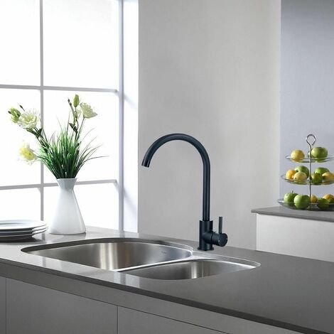 KEENWARE KKT-543 KNIGHTSBRIDGE CONTEMPORARY MONOBLOC KITCHEN MIXER TAP: BLACK