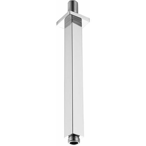 KEENWARE KSA-010 SQUARE OVERHEAD 250MM BRASS SHOWER HEAD CEILING OUTLET ARM; CHROME
