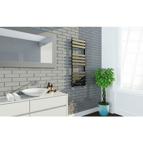 Keenware KTW-233 Luna Matt Black Designer Flat Panel Towel Warmer Radiator: 1200x450mm