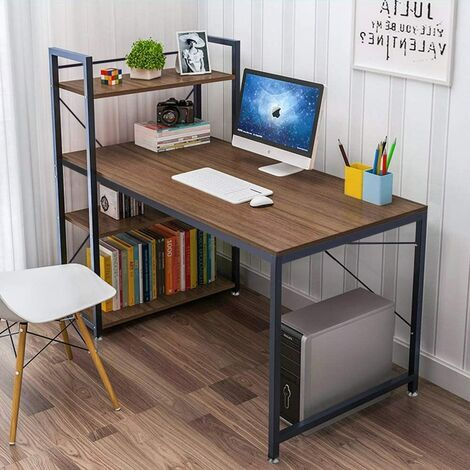 KEEPBUYING Steel Frame Wooden Home Office Table with 4 Tier DIY Storage Shelves - Computer PC