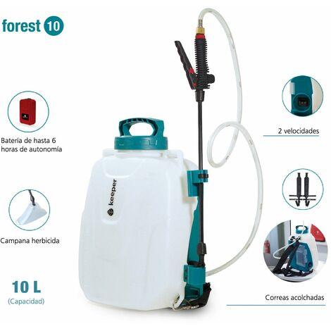 Keeper Pulverizador Eléctrico Forest 10. Pulverizador Mochila Batería Litio. 10L. Pulverizador Desinfectante. Hasta 4h Autonomía. 2 Velocidades.4Bar