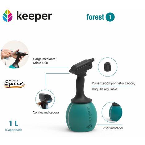 Keeper Pulverizador Eléctrico Keeper Forest 1. Bateria de Litio. Recarga Mediante USB. Boquilla Ajustable. Deposito Graduado. Hasta 90min de autonomía