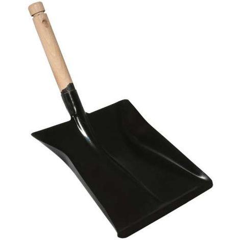 Kehrblech Kehrschaufel schwarz lackiert mit Holzgriff Griff Holz