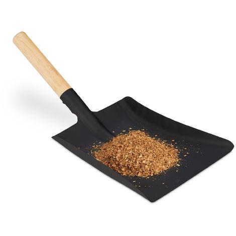 Kehrschaufel mit Holzgriff, Kaminbesteck, Kohleschaufel Ofen & Grill, Ascheschaufel Stahl, 46 cm, schwarz