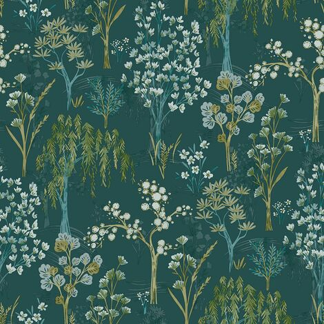 Keider Floral Wallpaper Holden Teal Oriental Blossom Tree Green Paste The Wall