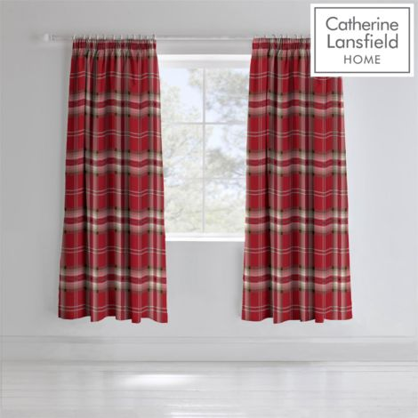 KELSO RED CURTAINS PENCIL PLEAT 66 X 72