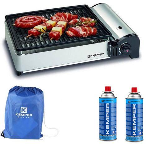 Kemper Barbecue portable intelligent au gaz - Barbecue de table Réchaud de camping - 2 bouteilles de gaz incluses