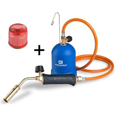 Kemper Chalumeau 2,2 kW - 20 mm - avec un tuyau de gaz de 1,5 m, réservoir de gaz à piquer inclus