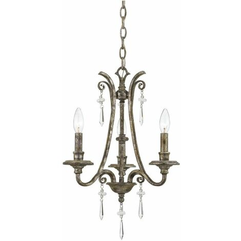 Kendra pendant light, spotted silver and pearl lampshade, 3 bulbs