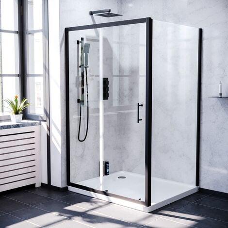 """main image of """"Keni 1000mm Shower Sliding Door & 900mm Frameless Glass Side Panel Screen Matte Black"""""""