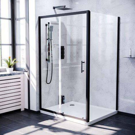 Keni 1100mm Shower Sliding Door & 900mm Frameless Glass Side Panel Screen Matte Black
