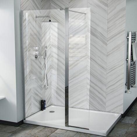 Keni 1200 Walk In Wet Room Shower Enclosure Screen and Flipper Return Panel