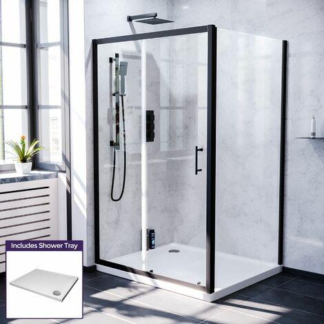 Keni 1200mm Shower Sliding Door, 700mm Frameless Glass Side Panel Screen & Tray Matte Black