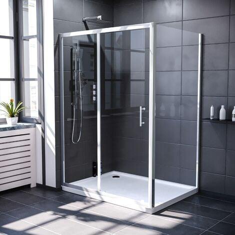 Keni 1300mm Shower Sliding Door & 700mm Frameless Glass Side Panel Screen Chrome