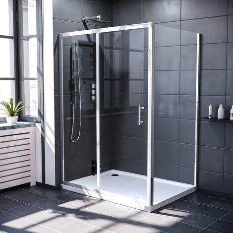 Keni 1300mm Shower Sliding Door & 760mm Frameless Glass Side Panel Screen Chrome