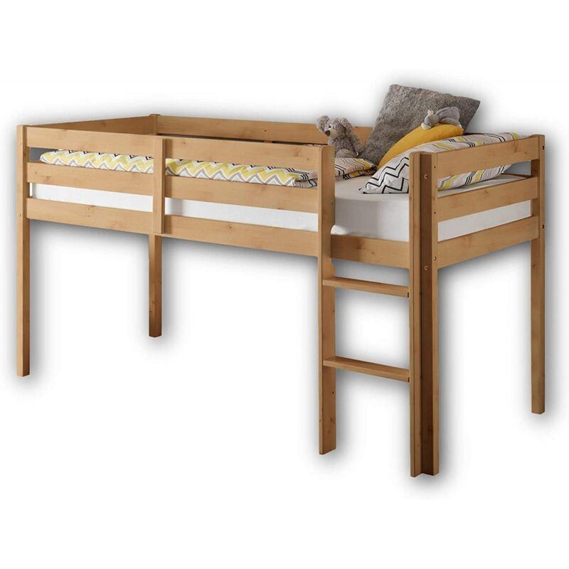 Begabino - KENI Hochbett Leiter 90 x 200 cm Kinder Etagenbett Kiefer massivlackiert Kinderbett Einzelbett Spiel-'SW15592'