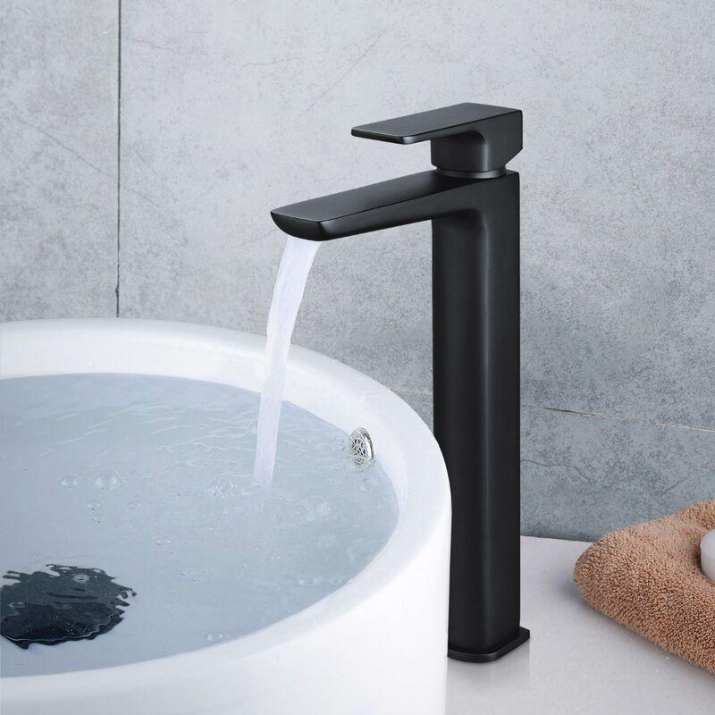 Arke Bathroom Luxury Black Matt Basin Sink Mono Mixer Single Lever Tap /& Waste