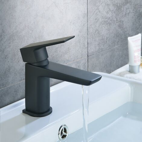 Keninton Bathroom Basin Mono Mixer Black Matt Tap & Waste