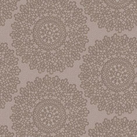 Kenitra Taupe Heather Wallpaper Holden Decor Textured Metallic Damask Mandala