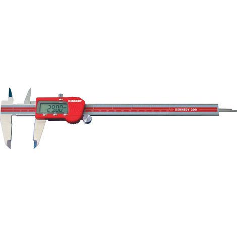 Kennedy Digitaler Messschieber 0 - 200 mm rot Stahl/Kunststoff Auflösung 0,01mm mit Feststellschraube Schieblehre