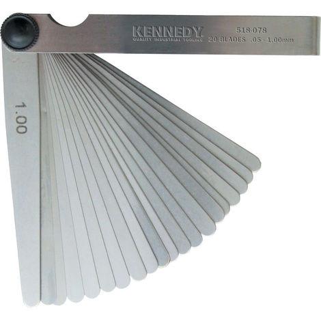 Kennedy Fühlerlehre Stahl 20 Blätter 0,05 - 1,00 mm