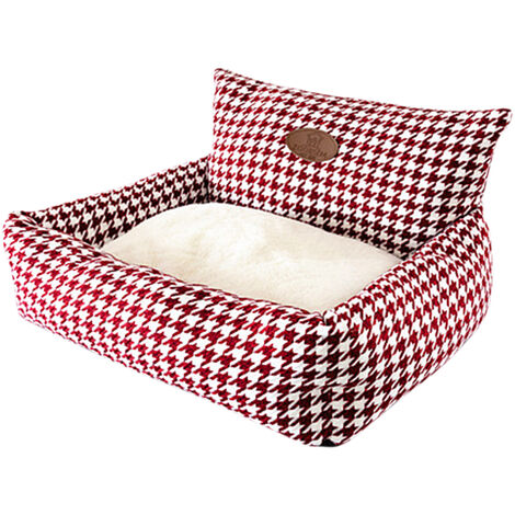 "main image of ""Kennel Plaid Pet Cuddler Bed Mattress Cat Litter Warm Pet Basket Supplies Puppy Cushion for Dogs Cats"""