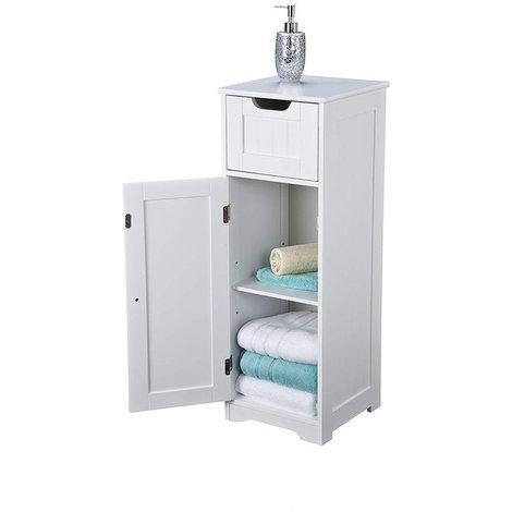 Kensa Freestanding Slimline Cabinet // White Scandinavian-inspired Slim Storage for Bathroom, Bedroom, Living Room, Hallway
