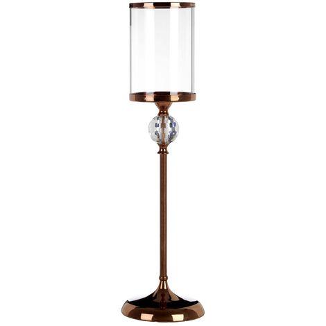 Kensington Townhouse Pillar Candle Holder, Crystal Glass / Bronze Metal, Large