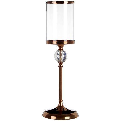 Kensington Townhouse Pillar Candle Holder, Crystal Glass / Bronze Metal, Small