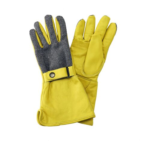 Kent & Stowe Leather Gauntlet Long Sleeve Gardening Gloves Fleece Lined Medium