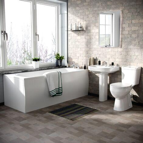 Kentucky 3-Piece Bath Suite Toilet (Eco-Toilet), Pedestal Basin And Round Bath White