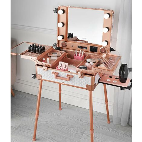 Kenzie Makeup Trolley Case with Hollywood LED Light Mirror Touch Sensor Bluetooth Speaker USB Charger Rosegold White