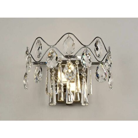 Kenzie wall light with switch 2 lights polished chrome / crystal