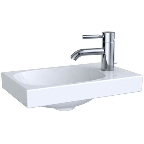 Keramag Acanto Hand-rinse basin asymmetrical 500635, with tap hole right, without overflow, 400x250mm, colour: White - 500.635.01.2