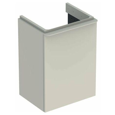 Keramag Geberit Smyle Square Lavabo carré pour lavabo, 500.351., 442x617x356mm, avec 1 porte, ouverture à gauche, Coloris: Structure en bois de noyer hickory / mélamine - 500.351.JR.1