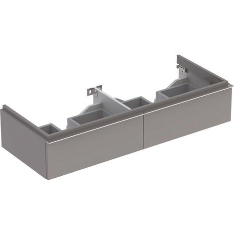 Keramag iCon Double vanity unit 840220 1190x240x477mm, Alpine high gloss, colour: platinum lacquered high gloss - 840222000