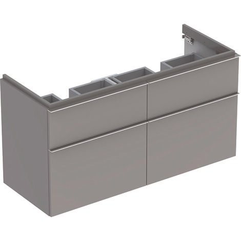 Keramag iCon Double vanity unit 840520 1190x620x477mm, Alpine high gloss, colour: platinum lacquered high gloss - 840522000