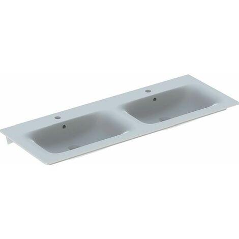 Keramag Renova Nr.1 Plan meuble double vasque Slim 130x48cm, avec trou pour robinet, avec trop-plein, Coloris: Blanc, avec KeraTect - 122230600