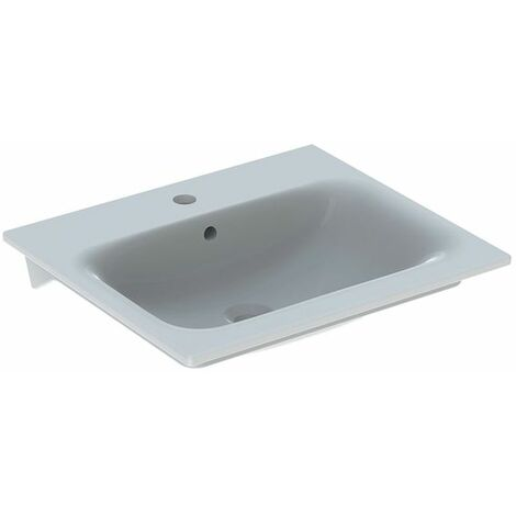 Keramag Renova Nr.1 Plan Meuble lave-mains Slim 55x48cm, avec trou pour robinet, avec trop-plein, Coloris: Blanc - 122255000