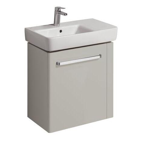 Keramag vanity unit Renova Nr. 1 Comprimo New, towel rail right, 590x604x337mm light grey matt/high gloss light grey - 862066000