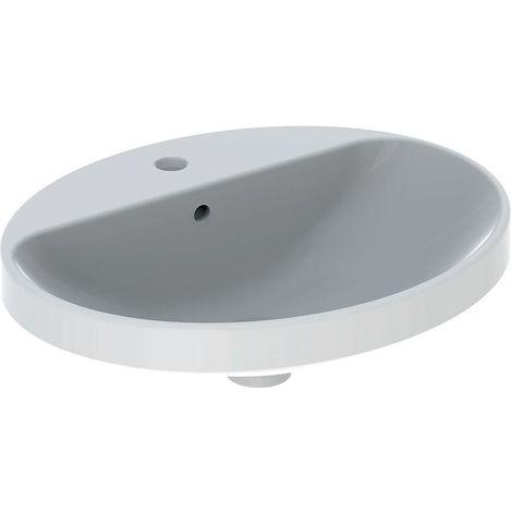 Keramag VariForm Einbauwaschtisch oval, 550x450mm, mit Hahnloch, mit Überlauf, Farbe: Weiß - 500.721.01.2
