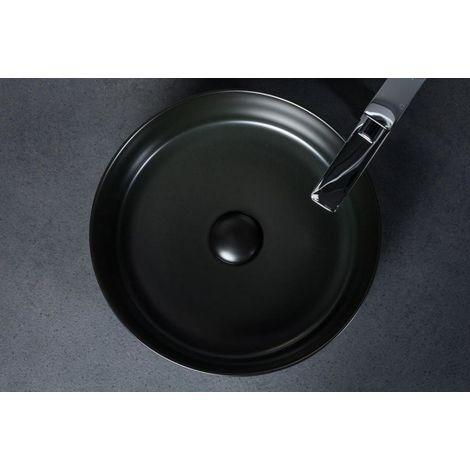 Waschbecken mit Hahnloch Waschschale Keramik Aufsatzwaschbecken schwarz Rund