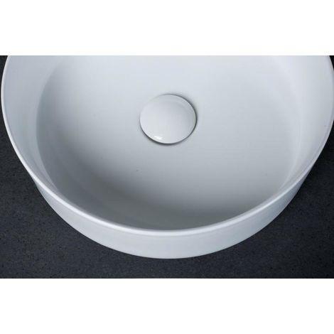 Keramik Aufsatzbecken Waschbecken Tondo mit Pop-Up Ablaufgarnitur weiß matt rund 35,5 x 12 cm