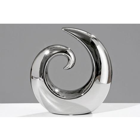 Deko Objekt Silber.Keramik Skulptur Deko Objekt Swing Silber 20cm Wave Figuren