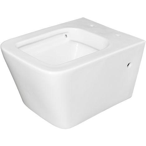 Keramik Tiefspüler Wand Hänge Toilette WC Spülrandlos Weiß Sanlingo
