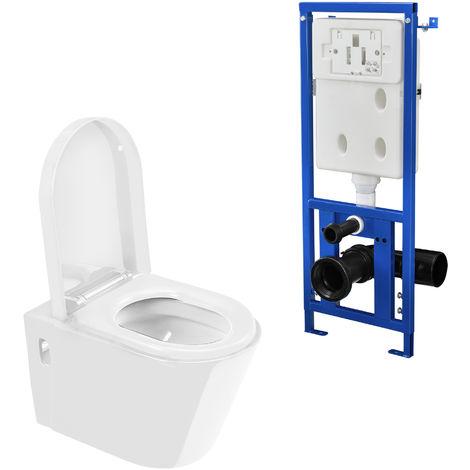 Gut gemocht Keramik Wand Hänge WC + Spülkasten weiß Absenkautomatik Toilette PB04