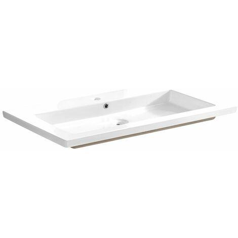 Keramik-Waschbecken 100 cm TOSKANA-56 glänzend weiß, B/H/T ca. 101/14/46 cm
