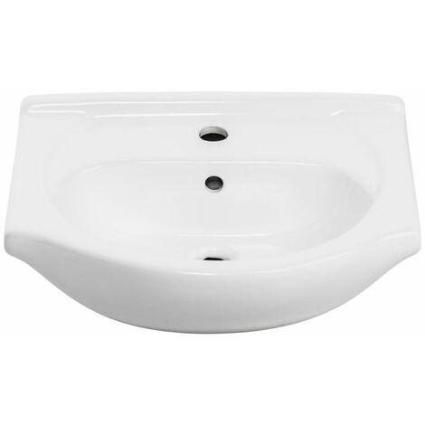Keramik Waschbecken / Waschtisch 50cm ARICA-56 weiß B/H/T ca. 50/18/42 cm