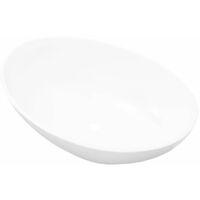 Keramik Waschtisch Waschbecken Oval Weiß 40 x 33 cm